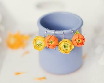 Flower earrings Wedding jewelry Bridesmaid gifts Yellow earrings Orange floral jewellery Coctail earrings Rununculus Peony earrings