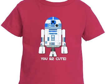 Toddler T-shirt, You R2 Cute, You are too cute, R2D2 t-shirt, R2D2 toddler, Toddler 5.5oz Short Sleeve T-Shirt (Rabbit Skins 3301)