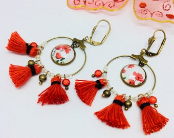 Hoop earrings poppy tassels