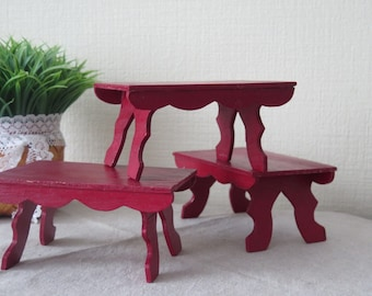 Set of 3, Red Wood Plant Stand, Plant Stool, Vintage Wooden Plant Holder, Miniature Red Table, Scandinavian Home Interior @127