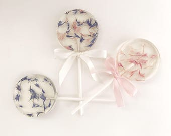 Flower Lollipop - Edible Flower Lollipop - Lollipop Favor - Flower Favor - Wedding Favor Lollipop - Set of 6