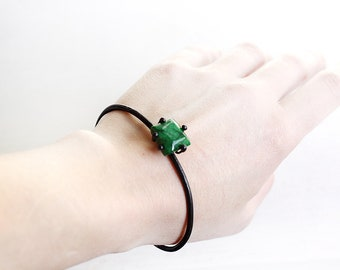 Emerald Bracelet Cuff, Minimalist Gem Jewellery, Recycled Copper, Green Gemstone Jewelry, Real Emerald, One of a kind, Gift For Her