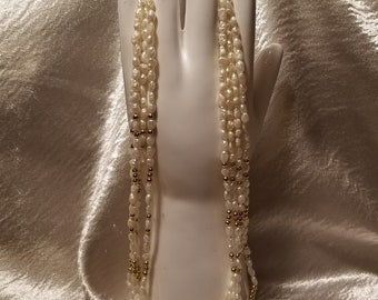 Freshwater Rice Pearl and gold bead 4 strand necklace 17 inch