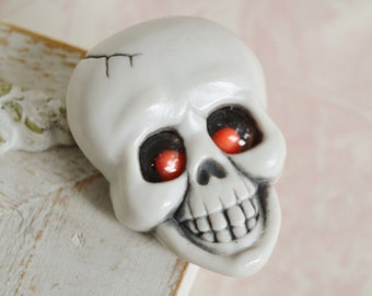 Vintage 1982 Skull Brooch with Beady Eyes by Hallmark