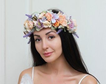 Peach lavender eucalyptus Boho flower crown Flower halo Bridal floral crown Wedding flower crown Flower crown Flower headband Hair wreath