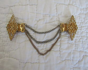 Vintage Sweater Clip / sweater guard Gold Tone Metal