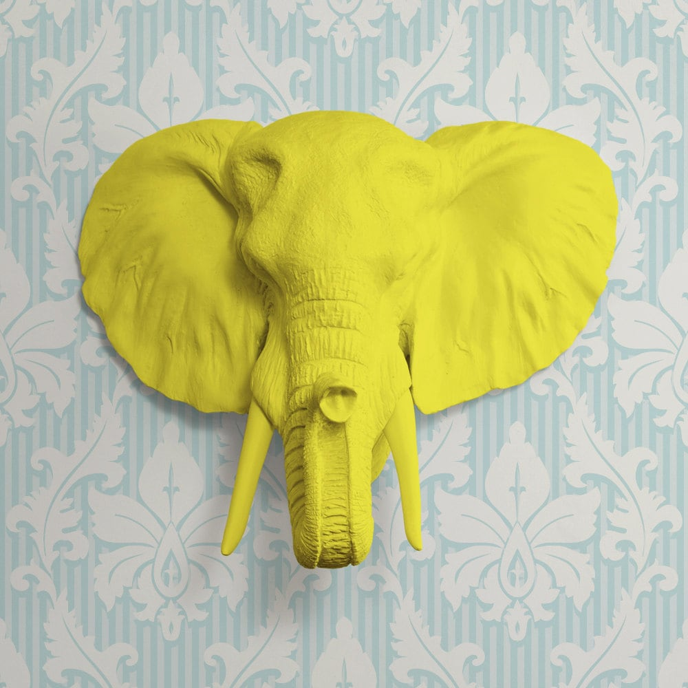 The Savannah in Yellow Faux Elephant Head Fake Resin Animal