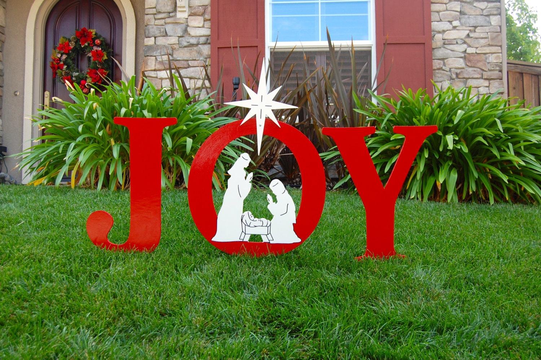 JOY Nativity Outdoor Holiday Christmas Yard Art Sign