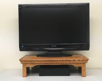TV Riser Stand in Traditional Style with Country Medium Finish (or Choose other Finish) by Udecorit