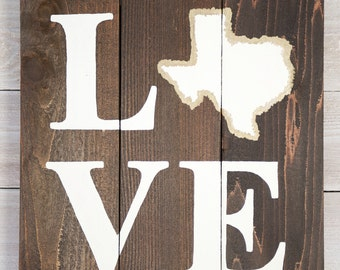 LOVE Texas Wooden Sign