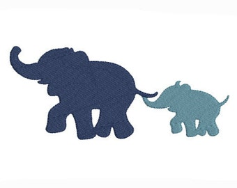 Embroidery design machine elephant and baby elephant Silhouette instant download