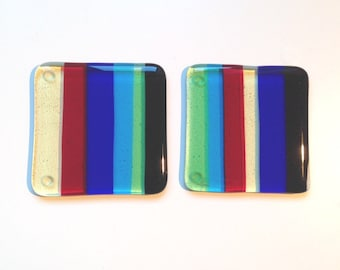 REDUCED PRICE! Set of 2 glass drinks coasters 'Style 1'
