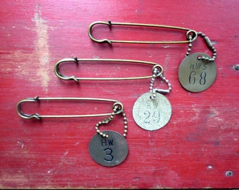 Vintage brass tags Brass numbered tags Brass number tags Number 3, 29, 68 Brass hardware tag Tool tags Brass key tags Brass valve tags  #6