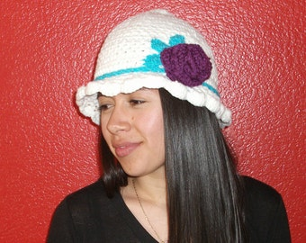 White Bucket Flower Hat Spring Purple Flower Crocheted Turquoise Stripe  Adult Teen One-Of-A-Kind  READY TO SHIP Smoke Free Home