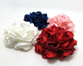 4 Colors 2 Sizes Satin Flower Burned Edges Satin Rose Hair Flower Brooch Pin Fabric Flower Applique Handmade Floral Supply Embellishment
