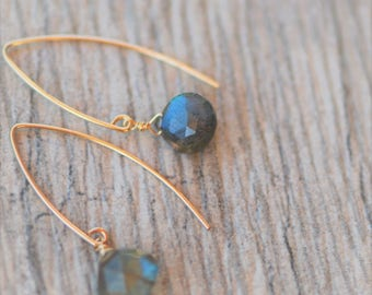 Labradorite briolettes on 14k gold fill arc ear wires