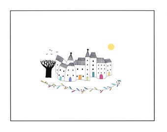 Pen ink and watercolor art illustration print, 10 x 8 drawing of houses, Village art, House drawing, Graphic art print, Multicoloured art
