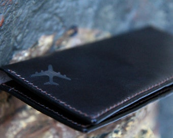 """Leather Travel Wallet  - """"Fly for a Dream"""""""