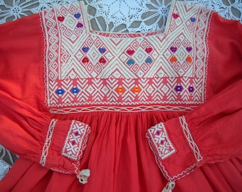 Tangerine Handmade, hand embroidered Huipil blouse, long sleeves, detailed front and back yokes and sleeve cuffs with tassels, size Medium
