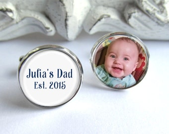 Dad Cufflinks, Gift For Dad, Personalized Photo Cufflinks