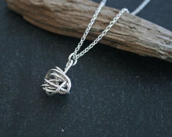 Sterling Silver Wire Twist Pendant, Handmade, 925 silver