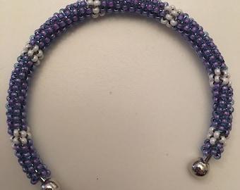 Purple and White Tubular Peyote Stitch Bracelet