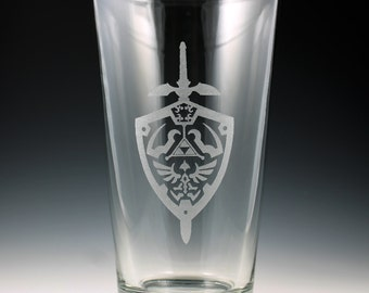 Legend of Zelda Hylian Shield & Master Sword Pint Glass