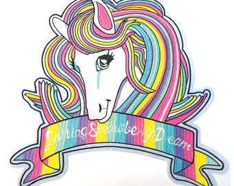 XLarge Unicorn 'Lasting Strawberry Dream' Embroidered Iron On Patches , Sew on Patches, Luxurious Gift,  Quirky Fun patches