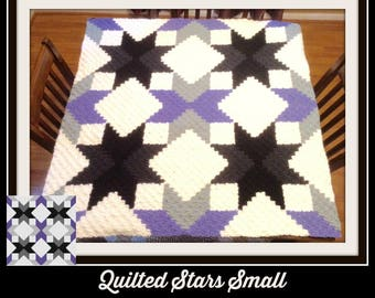 Quilted Stars C2C Graph, Quilted Stars Small, Quilted Stars Afghan, Quilted Stars Crochet Pattern