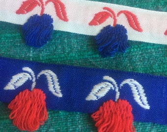 4 3/4 yard each Red Cherry and blue cherry Pillow Fringe Trim. 1 inch wide. Costume/dress/sewing/edging