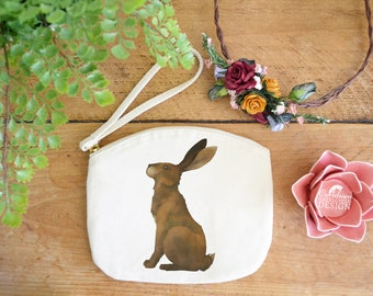Hare Canvas Zip Bag, Makeup Bag, Coin Purse, Small Accessory Pouch, Stocking Filler, Hare Gift