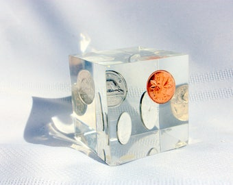 1972 Canadian Penny, Nickel, Dime, Quarter in Vintage Paperweight , Lucite Paperweight
