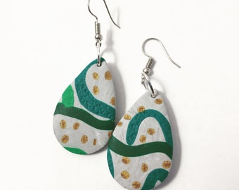 Green, grey and gold dangles
