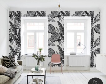 Black and white plants wallpaper || Tropical and exotic || Contrastive || Self adhesive #70