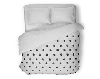 Polka Dot Duvet Cover, Queen Duvet Cover, King Duvet Cover, Full Duvet Cover, Twin XL Duvet Cover, Twin Duvet Cover, Black and White