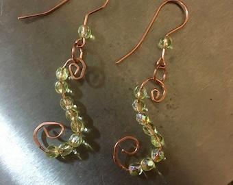 Swirl copper and light green earrings