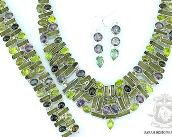 DRAVITE TOURMALINE 925 Solid Sterling Silver Necklace Set 152