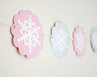 Snowflake Winter Paper Garland  Silver and Pink
