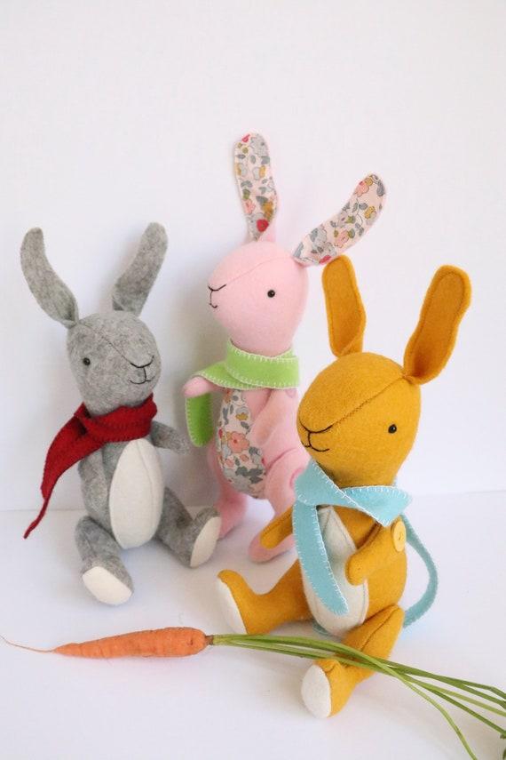 rabbit pattern, felt bunny, sewing patterns, stuffed toy pattern ...