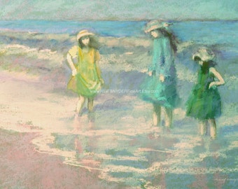 Beach card 5x7 three girls in dresses at the shore, children wading in surf ,sisters, seashore, blue, green, pink, figures, hats, painting
