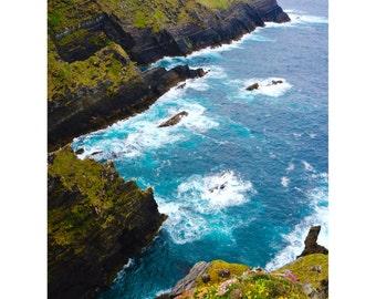 Ring of Kerry Print, Ireland Photography, Irish Prints, Fine Art Photography, Large Wall Art, Blue Wall Decor, Ocean, Europe - Kerry Cliffs