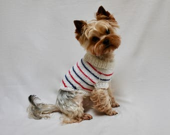 Dog Sweater | Blue, Red and White Striped Sweater | Hand knit dog sweater | Striped sweater | Bryn | Dog cardigan