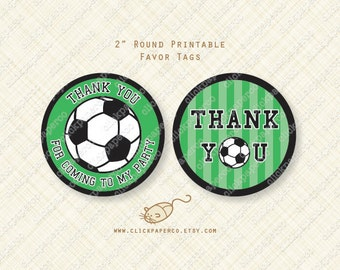Soccer Favor Tags Printable Thank You Round Circle Tag green sports party instant download digital pdf treat bag tags