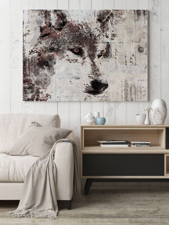 "Wolf Portrait. Extra Large Wolf Canvas, Unique Wolf Wall Decor, Brown Rustic Wolf Canvas Art Print up to 72"" by Irena Orlov"