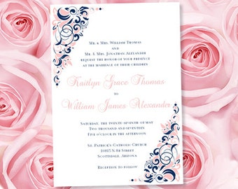 Champagne pink gold Wedding Invitation template printable