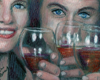 original art  aceo drawing heres to you toast in the New Year couple wine glass 2017