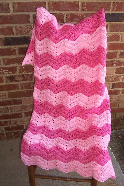 Crochet Afghan Pink Chevron Afghan Blanket Throw Lap Robe