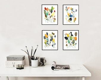 Set von 4 Blumen-Art-Prints. Galerie-Wand-Satz. Art-Druck-Set. Aquarell Blumenkunst. Galerie-Wand-Dekor. Blume Kunstdruck. Blumen-Galerie-set