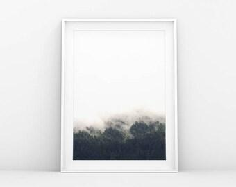 Misty Forest Top - Foggy Wonderland - Landscape Wall Art - Forest Printable Art - Instant Download - Scandinavian and Danish Art Print
