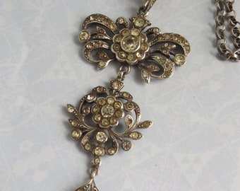 Pretty VICTORIAN French SILVER Paste Lavaliere Drop NECKLACE